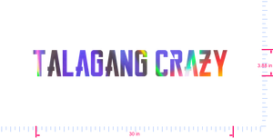 Text Talagang Crazy  Vinyl custom lettering decall/3.88 x 30 in/ OilSlick Chrome /