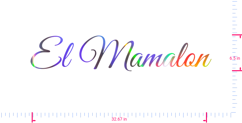Text El Mamalon Vinyl custom lettering decall/6.5 x 32.67 in/ OilSlick Chrome /