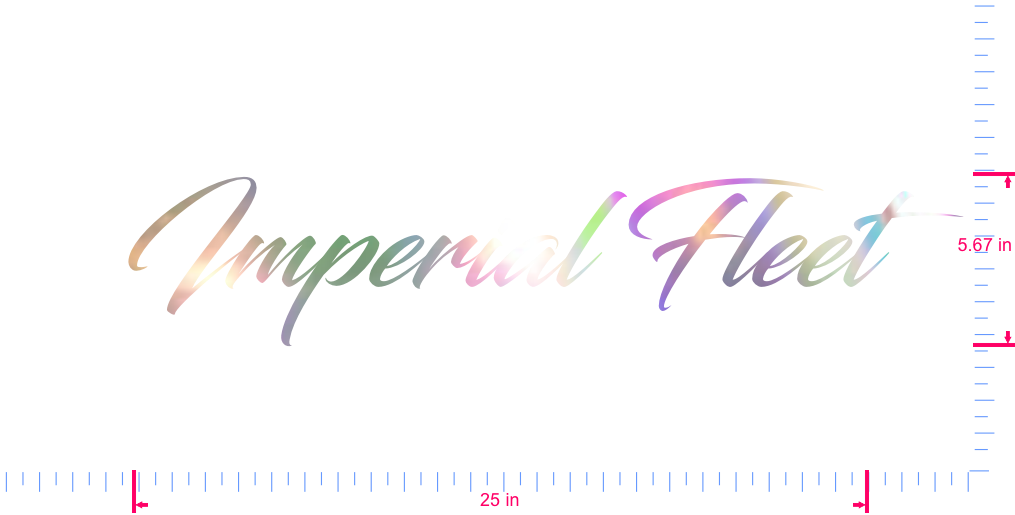 Text Imperial Fleet Vinyl custom lettering decal/5.67 x 25 in/ OilSlick Chrome /