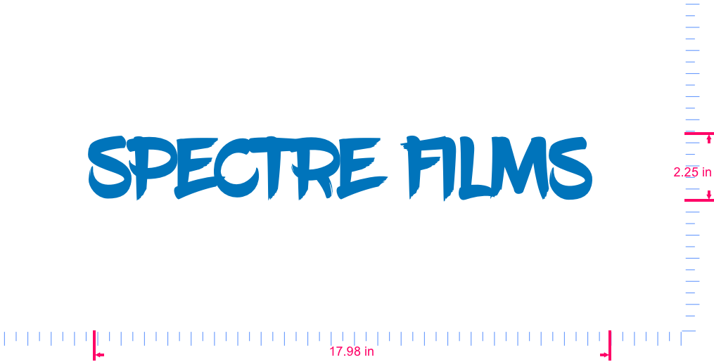 Text Spectre films  Vinyl custom lettering decall/2.25 x 17.98 in/ Sky Blue /