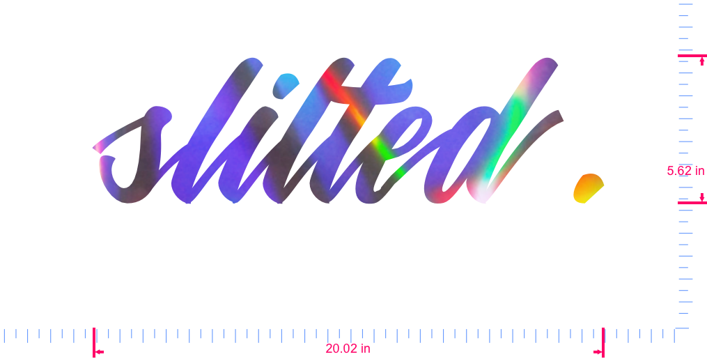 Text slilted. Vinyl custom lettering decall/5.62 x 20.02 in/ OilSlick Chrome /