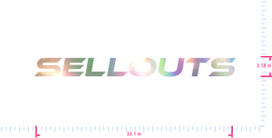 Text sellouts Vinyl custom lettering decal/3.18 x 33.1 in/ OilSlick Chrome /