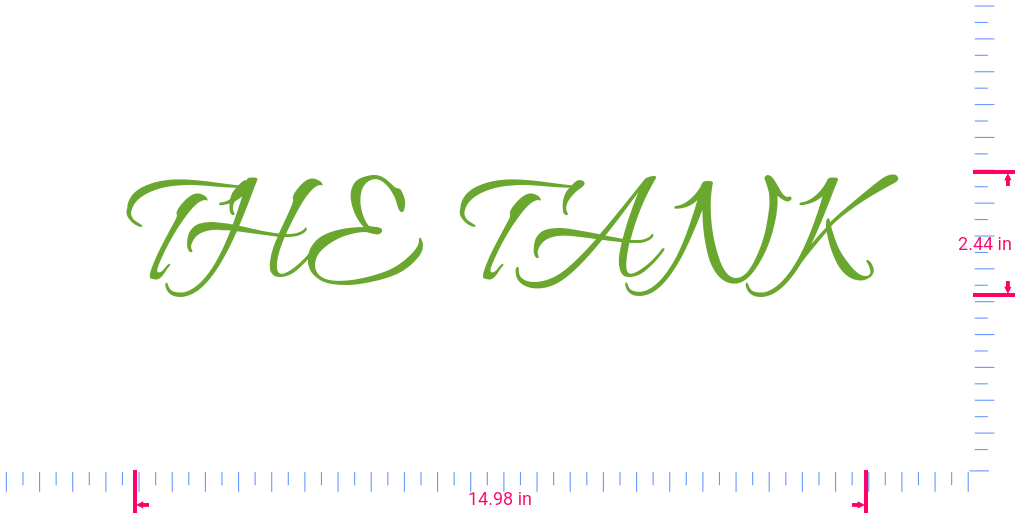 Text THE TANK Vinyl custom lettering decal/2.44 x 14.98 in/ Lime-tree Green /