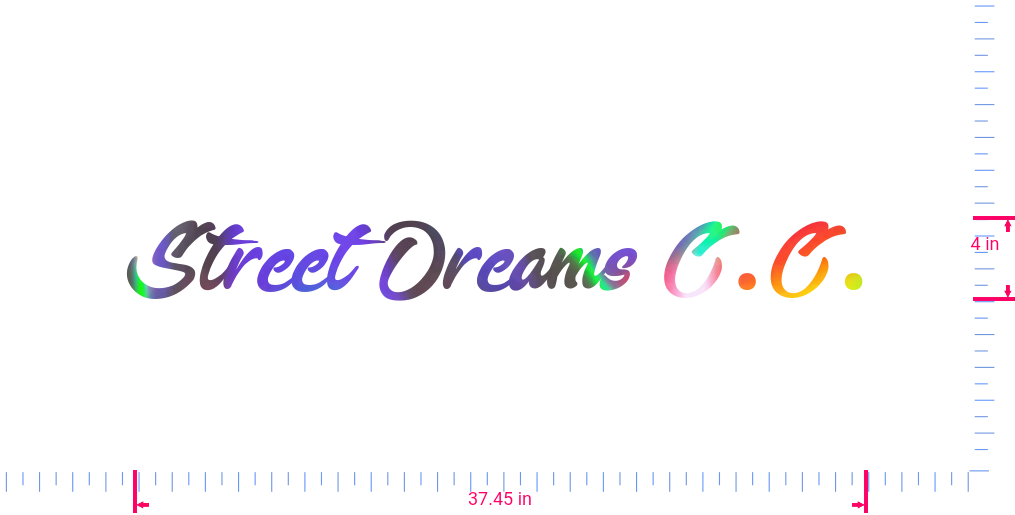 Text Street Dreams C.C. Vinyl custom lettering decall/4 x 37.45 in/ OilSlick Chrome /