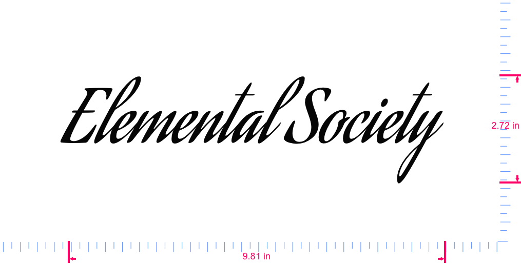 Text Elemental Society  Vinyl custom lettering decal/2.72 x 9.81 in/ Black /