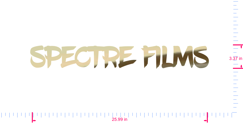 Text Spectre films Vinyl custom lettering decall/3.37 x 25.99 in/ Gold Chrome /