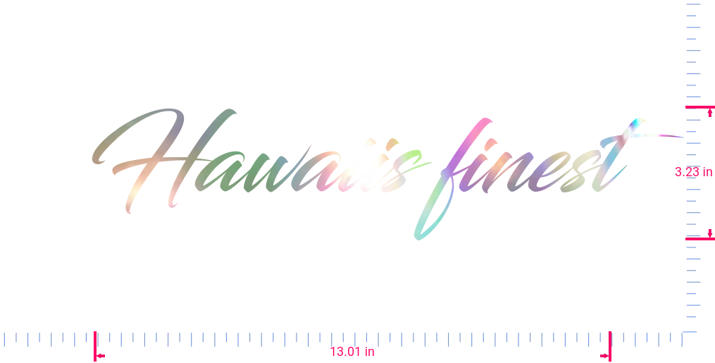 Text Hawaiis finest Vinyl custom lettering decal/3.23 x 13.01 in/ OilSlick Chrome /