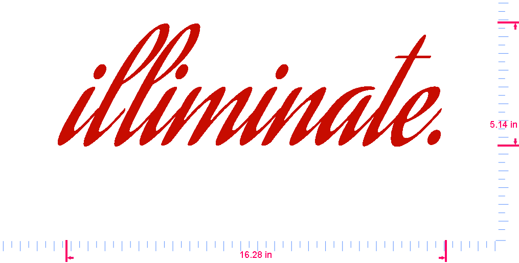 Text illiminate. Vinyl custom lettering decal/5.14 x 16.28 in/ Red /
