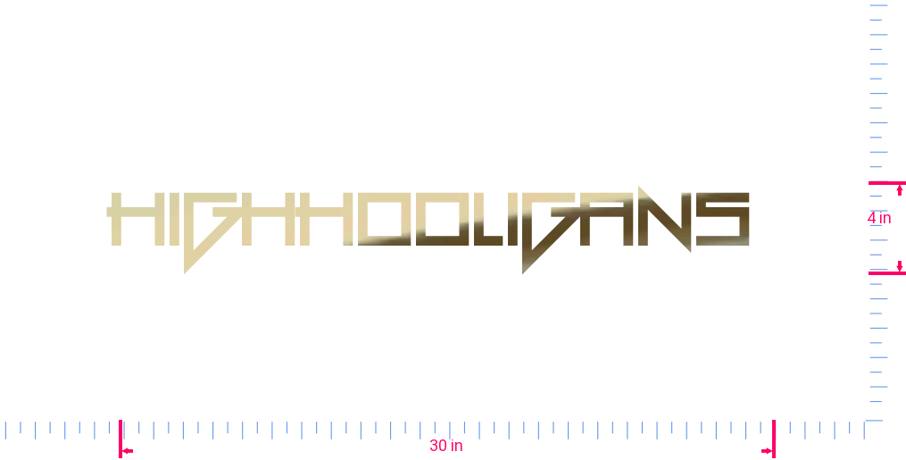 Text HighHooligans  Vinyl custom lettering decall/4 x 30 in/ Gold Chrome /