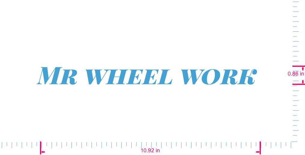 Text Mr wheel work  Vinyl custom lettering decal/0.86 x 10.92 in/ Ice Blue /