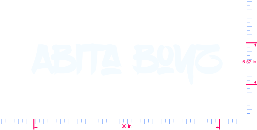 Text Abita Boyz Vinyl custom lettering decal/6.52 x 30 in/ White /