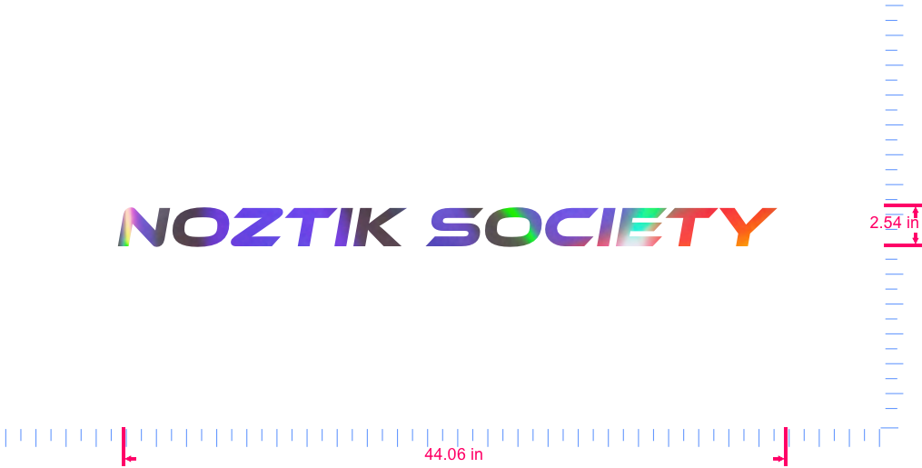 Text NOZTIK SOCIETY  Vinyl custom lettering decall/2.54 x 44.06 in/ OilSlick Chrome /