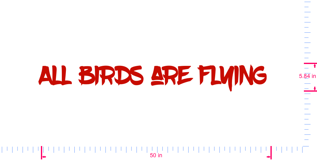 Text All birds are flying  Vinyl custom lettering decall/5.84 x 50 in/ Red /