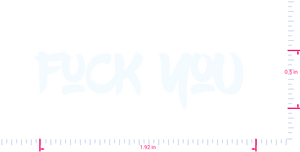 Text Fuck you  Vinyl custom lettering decal/0.5 x 1.92 in/ White /