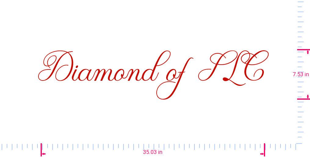 Text Diamond of SLC Vinyl custom lettering decal/7.53 x 35.03 in/ Red /