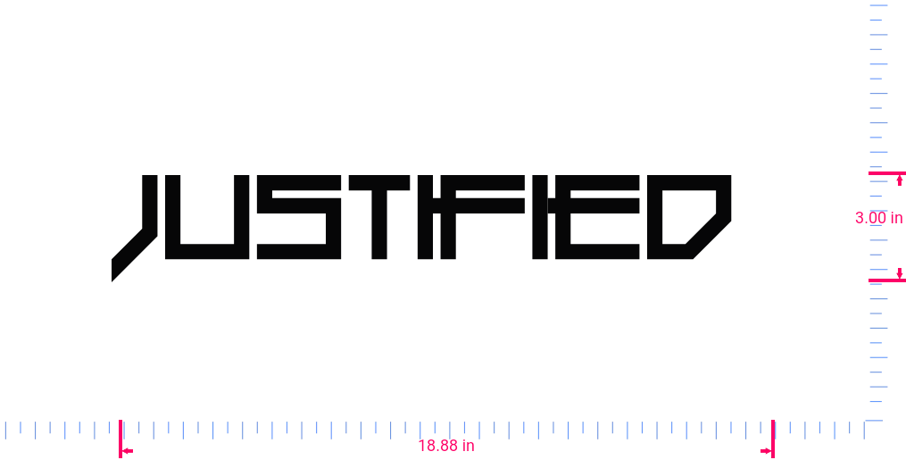 Text Justified  Vinyl custom lettering decall/3.00 x 18.88 in/ Black /