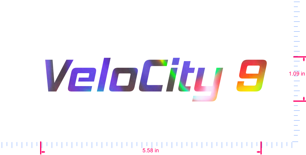 Text VeloCity 9 Vinyl custom lettering decall/1.09 x 5.58 in/ OilSlick Chrome /