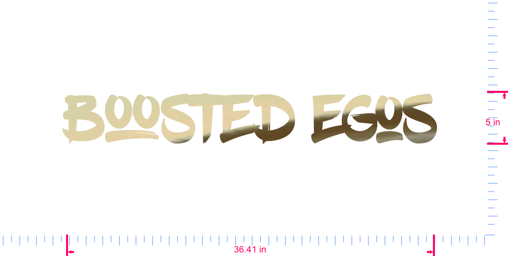 Text Boosted Egos Vinyl custom lettering decal/5 x 36.41 in/ Gold Chrome /