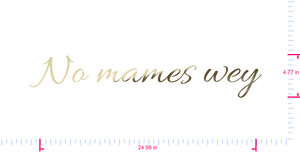 Text No mames wey Vinyl custom lettering decal/4.77 x 24.98 in/ Gold Chrome /