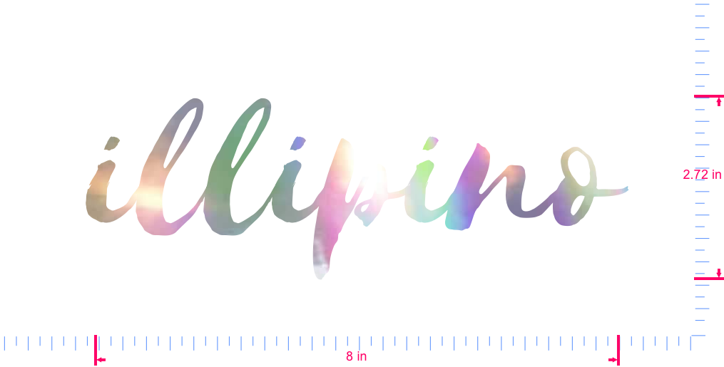 Text illipino Vinyl custom lettering decal/2.72 x 8 in/ OilSlick Chrome /