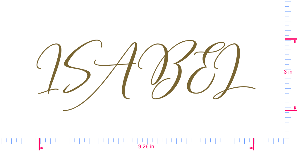 Text ISABEL Vinyl custom lettering decal/3 x 9.26 in/ Gold /