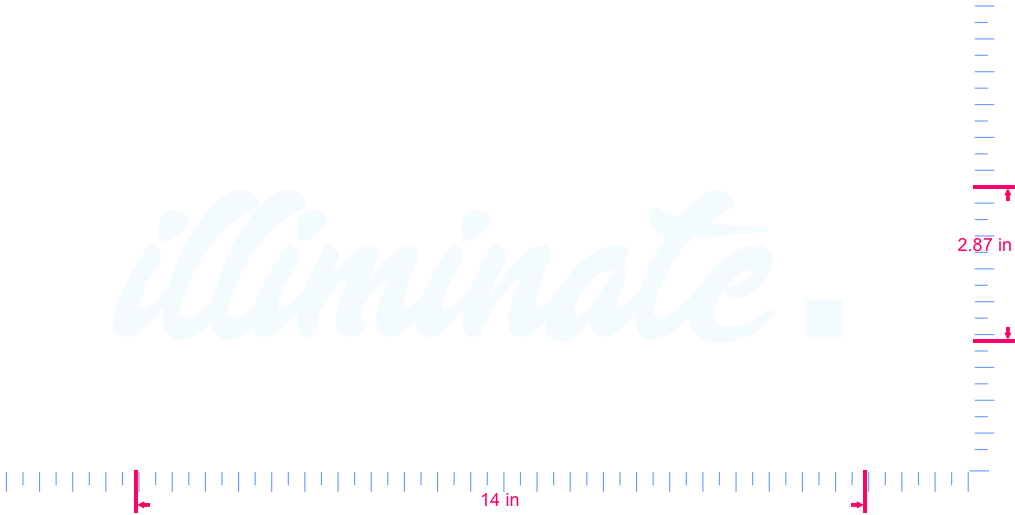 Text illiminate. Vinyl custom lettering decal/2.87 x 14 in/ White /