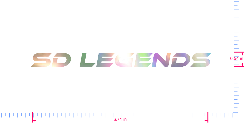 Text SD Legends Vinyl custom lettering decal/0.54 x 6.71 in/ OilSlick Chrome /
