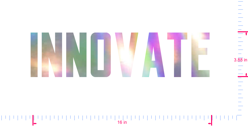 Text INNOVATE Vinyl custom lettering decal/3.88 x 16 in/ OilSlick Chrome /