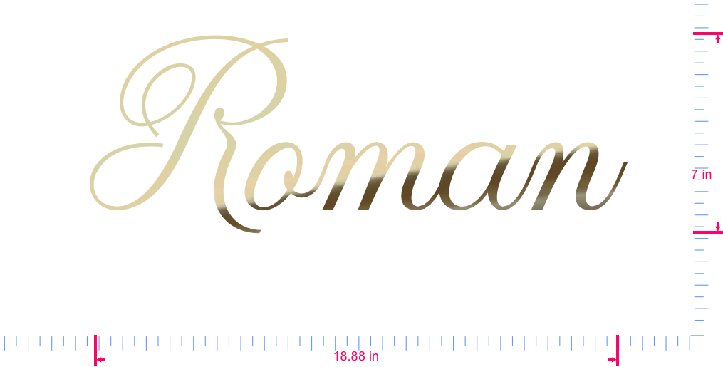 Text Roman Vinyl custom lettering decal/7 x 18.88 in/ Gold Chrome /