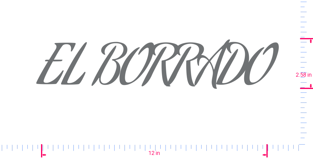 Text EL BORRADO Vinyl custom lettering decall/2.58 x 12 in/ Silver Grey /