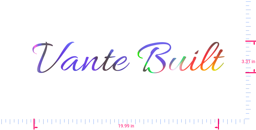 Text Vante Built Vinyl custom lettering decall/3.31 x 19.99 in/ OilSlick Chrome /