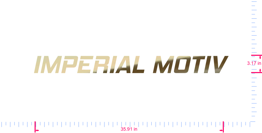 Text IMPERIAL MOTIV Vinyl custom lettering decall/3.17 x 35.91 in/ Gold Chrome /