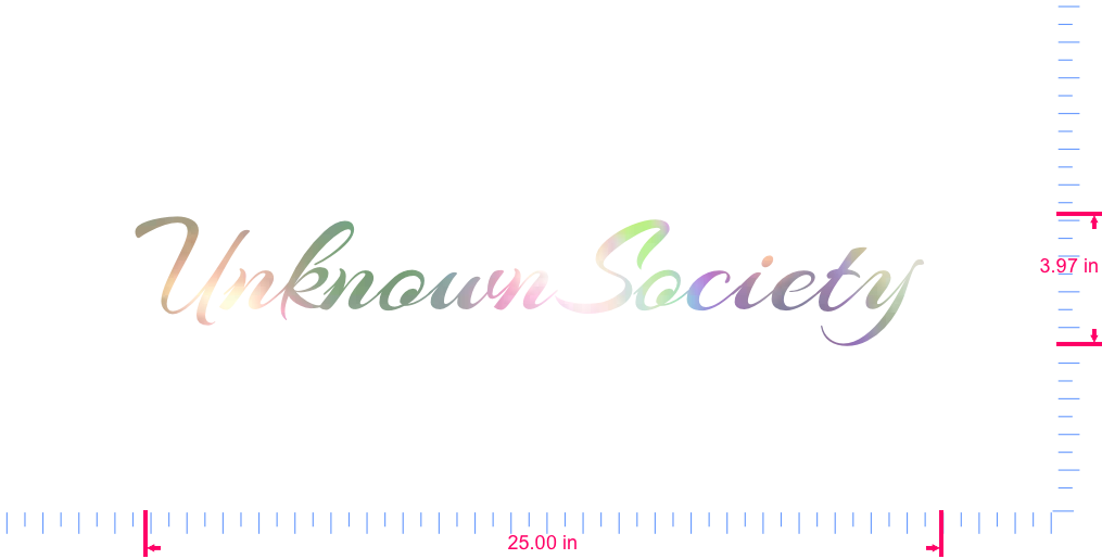 Text UnknownSociety  Vinyl custom lettering decal/3.97 x 25.00 in/ OilSlick Chrome /