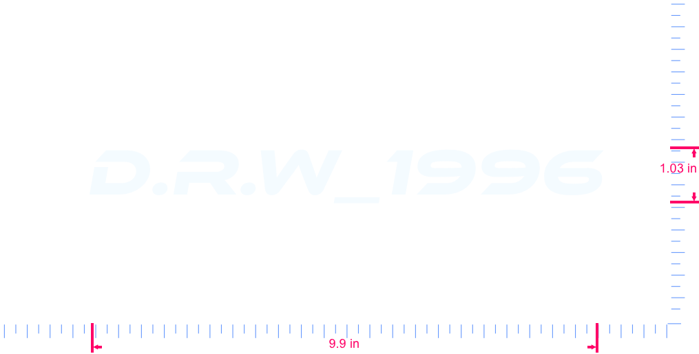 Text D.R.W_1996 Vinyl custom lettering decall/1.03 x 9.9 in/ White /