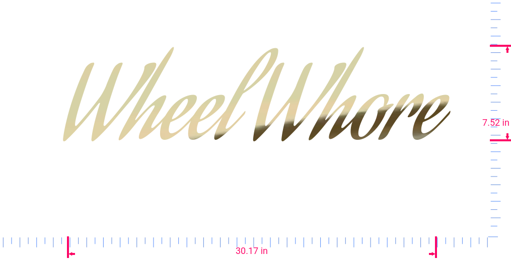 Text Wheel Whore Vinyl custom lettering decall/7.52 x 30.17 in/ Gold Chrome /