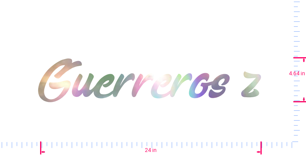 Text Guerreros z Vinyl custom lettering decal/4.64 x 24 in/ OilSlick Chrome /