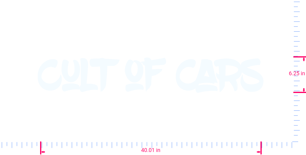 Text Cult of Cars Vinyl custom lettering decal/6.25 x 40.01 in/ White /