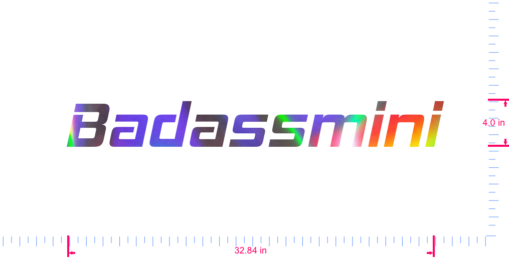 Text Badassmini Vinyl custom lettering decall/4.0 x 32.84 in/ OilSlick Chrome /