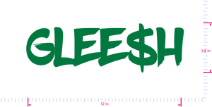 Text Glee$h Vinyl custom lettering decall/3.8 x 12 in/ Grass Green /