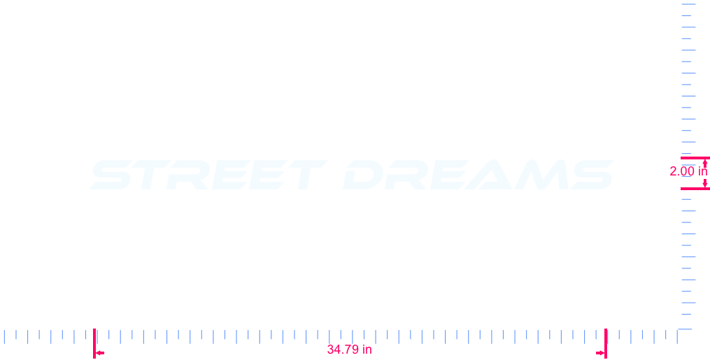 Text Street Dreams Vinyl custom lettering decall/2.00 x 34.79 in/ White /