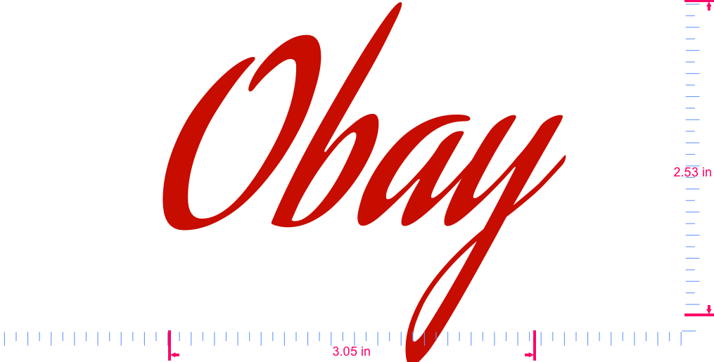 Text Obay Vinyl custom lettering decal/2.53 x 3.05 in/ Red /
