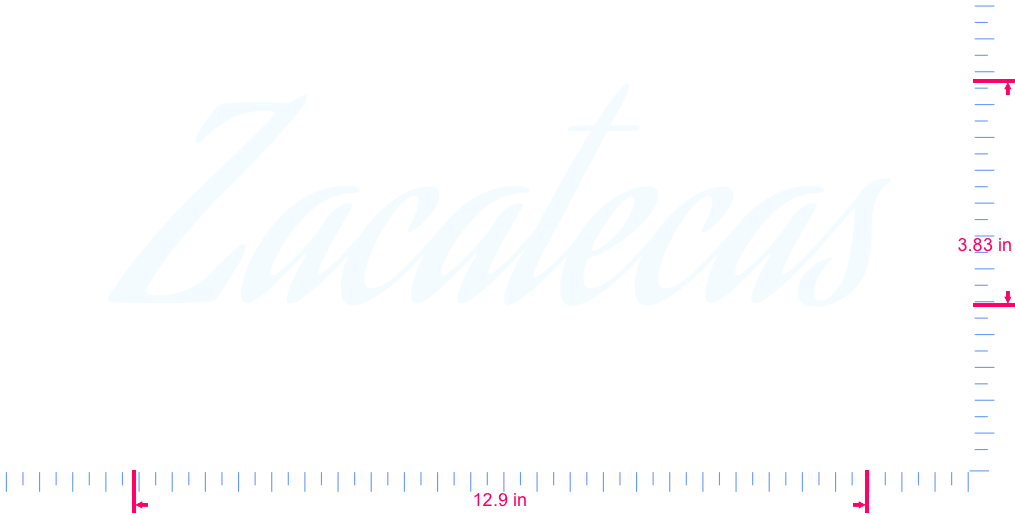 Text Zacatecas Vinyl custom lettering decall/3.83 x 12.9 in/ White /