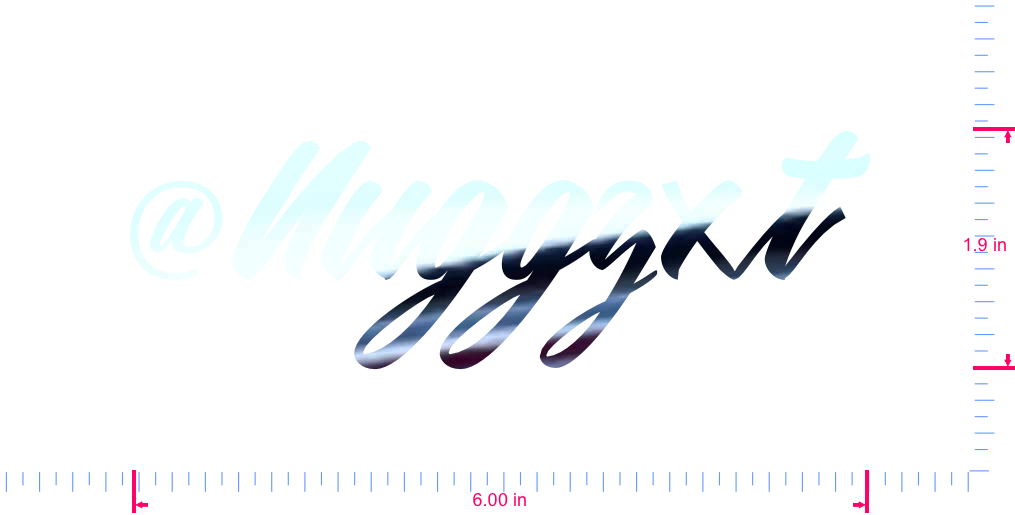 Text @Nuggzxt Vinyl custom lettering decal/1.9 x 6.00 in/ Mirror Chrome /