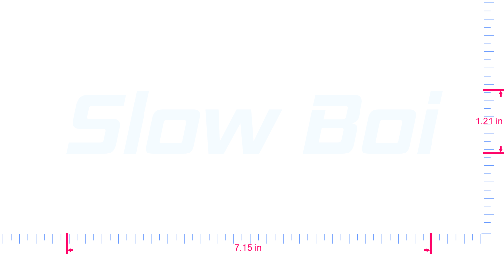 Text Slow Boi Vinyl custom lettering decall/1.21 x 7.15 in/ White /
