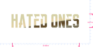 Text Hated Ones Vinyl custom lettering decall/6.27 x 31.95 in/ Gold Chrome /