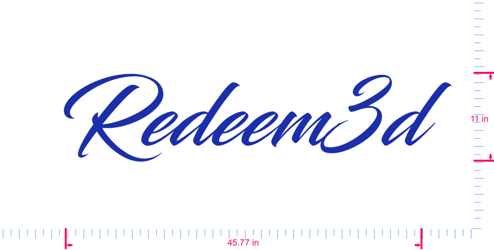Text Redeem3d Vinyl custom lettering decal/11 x 45.77 in/ Brilliant Blue /