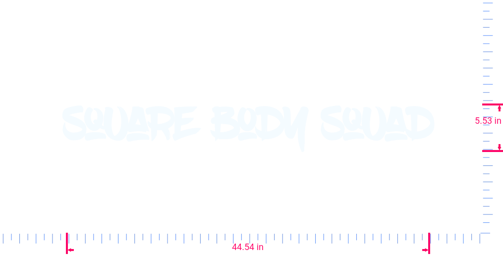 Text Square Body Squad Vinyl custom lettering decall/5.53 x 44.54 in/ White /
