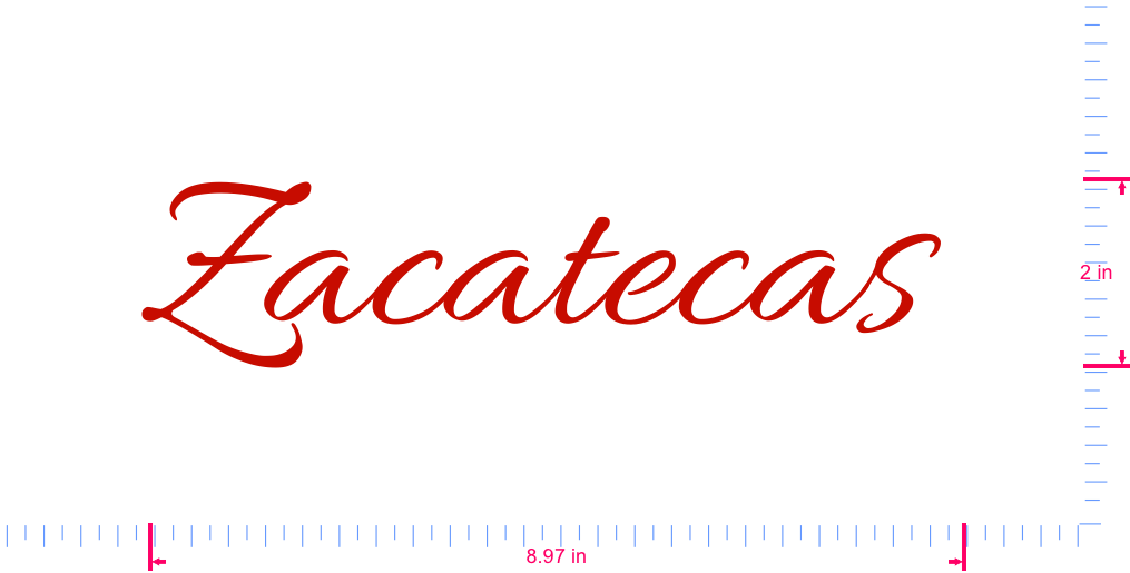 Text Zacatecas  Vinyl custom lettering decall/2 x 8.97 in/ Red /