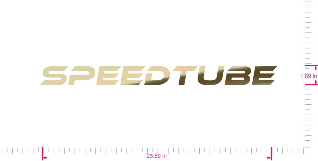 Text SpeedTube Vinyl custom lettering decall/1.89 x 23.59 in/ Gold Chrome /