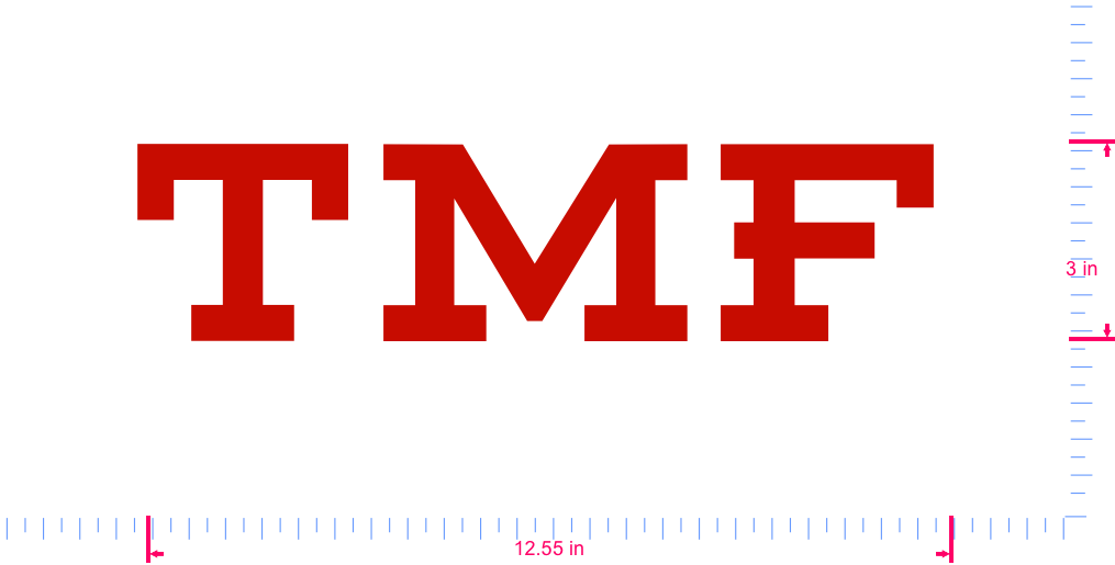 Text TMF Vinyl custom lettering decall/3 x 12.55 in/ Red /